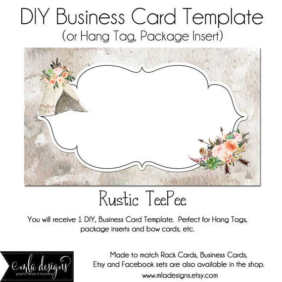 Teepee business card dyi blank business card template rustic colourmoves