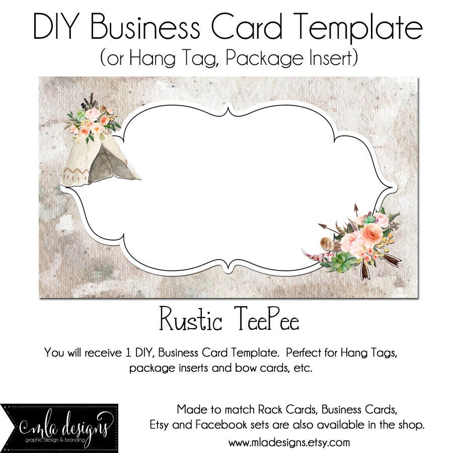 TeePee Business Card DYI Blank Business Card Template Rustic