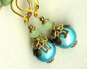 Earrings ball magic OR392 light green turquoise ♥ ♥