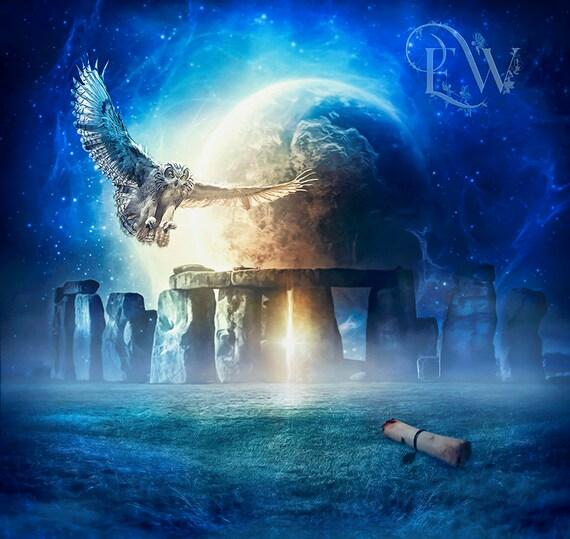 Stonehenge owl art fantasy art print