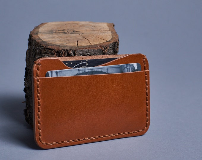 Leather mini wallet. Leather credit card holder. Minimalist wallet. Leather thin wallet. Two slot cards holder.