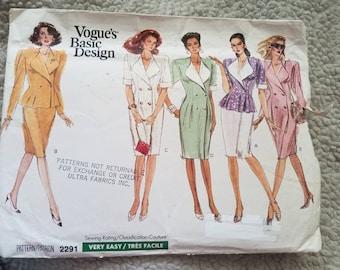 Vintage Vogue 2291 Vogue Basic Design Misses' Dress, Top and Jacket. Double Breasted Dress & Jacket, Straight Skirt.  Size 6