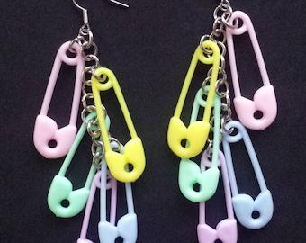 Pastel Baby Safety Pin Earrings, Cluster Earrings, Fairy Kei Earrings, Statement Jewelry