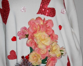 """SALE Ugly """"Sweater"""" with Valentine's Day design has Red hearts,flowers,wings and a wand February 14th SALE #41"""