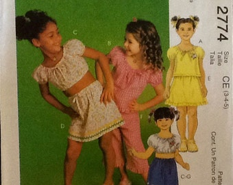 McCalls 2774 Girls Top Skirt Shorts and Capri Pants Short Sleeves  sewing pattern uncut, size. 3-5