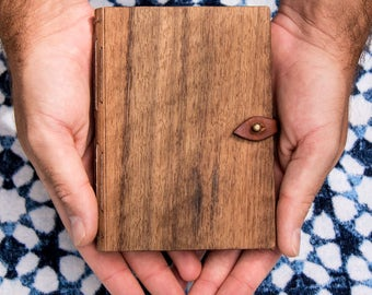 QLD Walnut & Leather Journal - Wood Journal - Sustainable Journal - Leather Sketchbook - Wood and Leather Book - Made in Byron