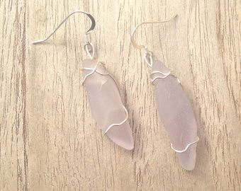 Lavender Seaglass Earrings