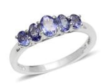 Tanzanite Platinum Over Sterling Silver 5 Stone Ring (Size 8.0) TGW 1.450 cts