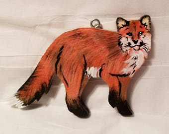 wooden red fox christmas ornament