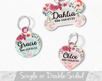 Floral Pet ID Tag, Personalized Pet Tag, Floral Dog Tag for Dog, ID Tag Floral, Dog Tag For Small Dog, Cat Pet Tag Heart, Floral Pet Tag