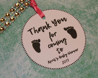 up to 20 baby feet thank you baby shower tag TAGS personalized baby shower favor tag  gender reveal label