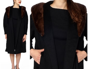 Vintage 1960s Long Open Black Coat with Fur Shawl Collar and Pleated Back by Dr. Schaffer   Small/Medium