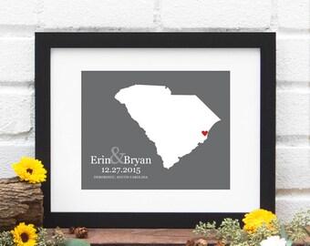 South Carolina State Map Art Print, Custom State Map Wedding Gift, Bridal Shower Gift, Southern Bride, Shower Gift -