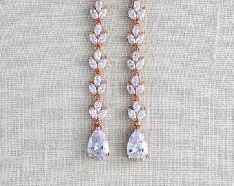 Rose Gold earrings, Bridal earrings, Wedding jewelry, Long Wedding earrings, Bridesmaid jewelry, Crystal earrings, Bridal jewelry, Pink gold