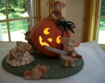 Ceramic  Halloween,Fall Pumpkin lighted,mice carving pumpkin set Halloween decoration