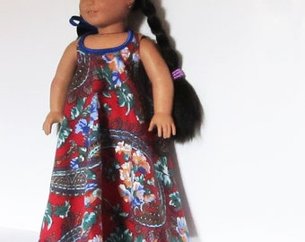 """Red with Blue Maxi Halter Dress Fits American Girl Doll Clothes 18"""""""