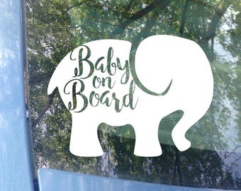 Baby on board Decal | Car Window Decal | Baby | New Baby | Baby Shower Gift | Baby on board Sticker | Elephant Decal | Baby Gift | Safety