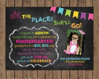 Dr. Seuss Kindergarten Graduation Invitation - Preschool - Chalkboard - Oh The Places You'll Go - Choose Digital File or Printed w/envelopes