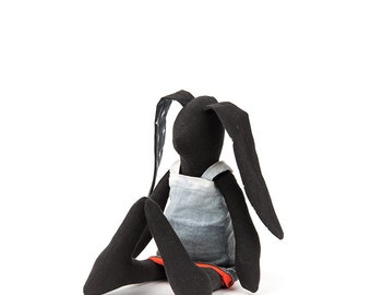 Black doll Handmade bunny Decorative doll Hare doll SMALL doll Baby girl doll stuffed rabbit doll Modern fabric ragdoll Baby shower gift