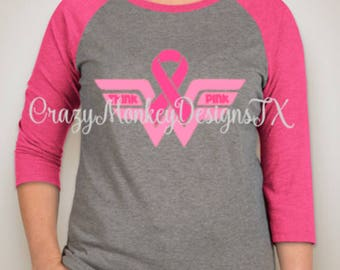 Think Pink Breast Cancer Awareness Raglan Shirt