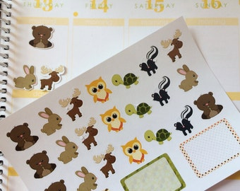 Woodland Planner Stickers Animal Set Fits Erin Condren Life Planner