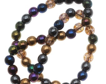 50pcs 6mm Czech Glass Pressed Beads Round Heavy Mix (6RP015)