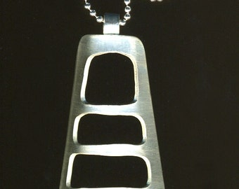 Minimal triangle Ladders geometric futuristic Sterling Silver Necklace