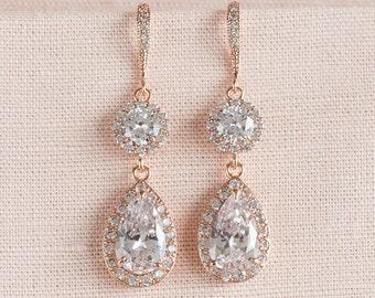Rose Gold Bridal Earrings, Wedding Jewelry, Crystal Bridal Earrings, Bridesmaid jewelry,  Evelyn Rose Gold Earrings