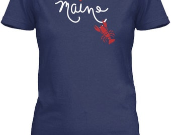 Love Maine - Gildan Women's Tee - Navy