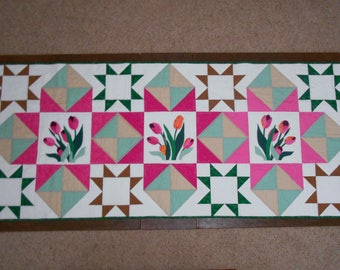 Quilted Bed Runner Quilted Tulip Bed Runner Floral Bed Runner Patchwork Bed Runner