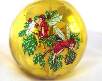 Vintage Plastic Christmas Ornament, Mid Century Gold Fairy Jewel Brite Ornament