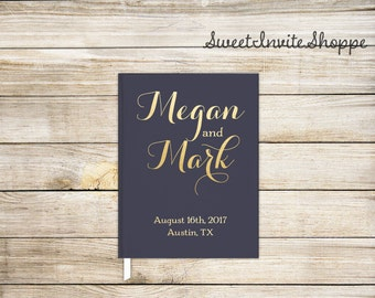 Navy Blue And Gold Wedding Guest Book, Faux Gold Foil Guest Book, Bridal Shower Guest Book, Modern Guest Book, Simple Guest Book