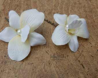 Hair Accessories -Set of Two Orchid Hair Pins - Ivory Hair Accessories - Floral Hair Pins - Pearl Hair Grips - Wedding Hair Accessories