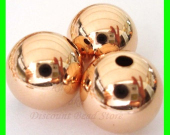 2x  10mm 14k ROSE  gold filled seamless shiny round bead spacers RB10