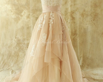 Simple blush A line organza lace wedding dress