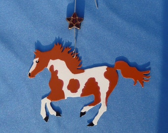 Metal Cinnamon and White Paint Horse Ornament w/ Star