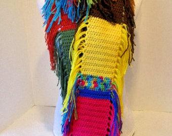 Crochet Scarf ~ Fringe ~ Upcycled ~ Many Colors
