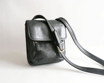 Black Leather Shoulder Cross Body Bag
