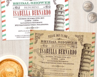 Vintage Italian Bridal Wedding Shower Invitation; Printable, Evite or Printed Invitation