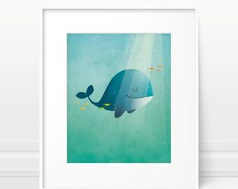 Whale print, baby boy nursery decor, nursery wall art, nursery print, nursery art print, ocean nursery, whale nursery print, baby boy gift