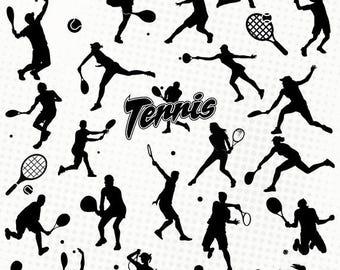Tennis - 30 svg/dxf/eps/silhouette studio/png files - Silhouette, die cutting file Tennis man woman racket tennisman woman sport ball svg
