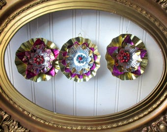 3 upcycled retro Christmas ornaments vintage foil reflector, mercury bead gold paper pink magenta star rosettes colorful bright Holiday N1