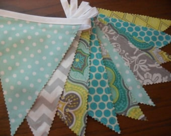 Fabric Banner, Bunting Banner, Photo Prop, Birthday, Wedding, Aqua, Yellow, Green, Ready to Ship!