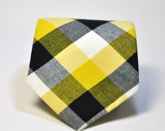 Boys Necktie Yellow and Black Check Toddler Tie - Georgia Tech - Pittsburgh Steelers - Bengals - Missouri Tigers
