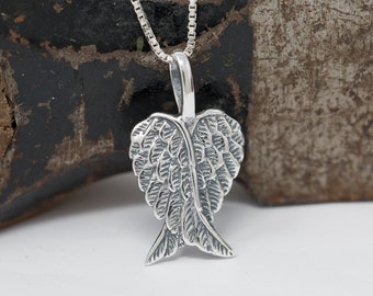 Sterling Silver Embraced Angel Wings Necklace, Silver Angel Wings Necklace, Angel Wings Heart Necklace, Silver Angel Necklace, Gift for Her