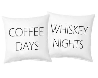 Coffee Days and Whiskey Nights Pillow Cover Set of 2, Valentine's Day Cute Pillow Cover Set, Design Throw Pillow Covers
