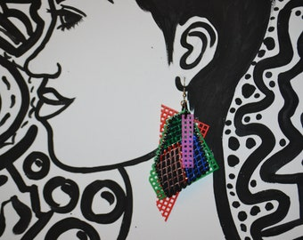 Retro hand painted/mesh earrings