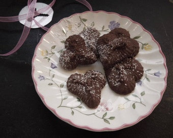 Chocolate Spritz Cookie Hearts, Cocoa Butter Cookie Heart shapes, Chocolate Tea Cookies, Gifts for Her, Mother's Day, Valentines - Birthdays