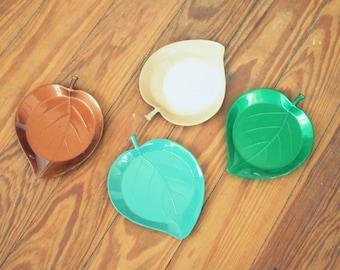 Vintage BOHO LEAF Coasters.set of 4. kitschy. gothamware. drink. mod. retro home. gift. housewarming. mod home. 1970s home. boho. nature
