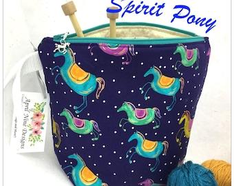 Spirit Pony Knitting Bag, Small Knitting Project Bag, Crochet Project Bag, Yarn Bag,